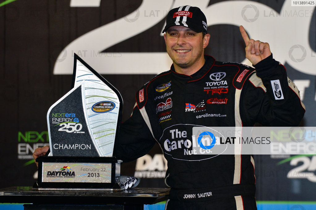 February 21-22, 2013 Daytona Beach, Florida USA Johnny Sauter in Victory Lane.(c) 2013, Brian Czobat LAT Photo USA .