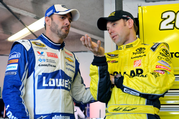 16-23 February, 2014, Daytona Beach, Florida, USA  Jimmie Johnson and  Matt Kenseth, Dollar General Toyota Camry ©2014, Nigel Kinrade LAT Photo USA