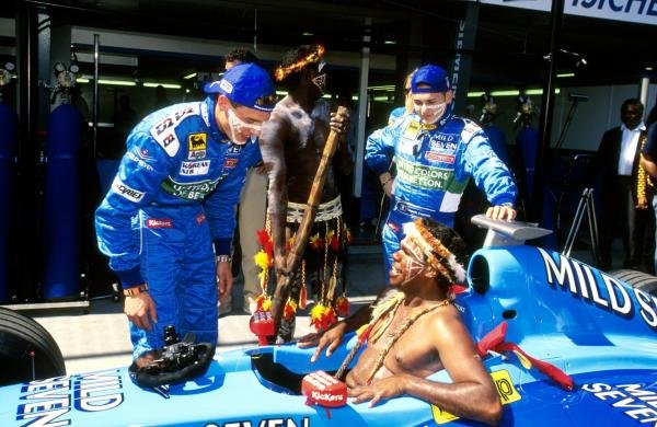 An Aborigine tries the Benetton for size