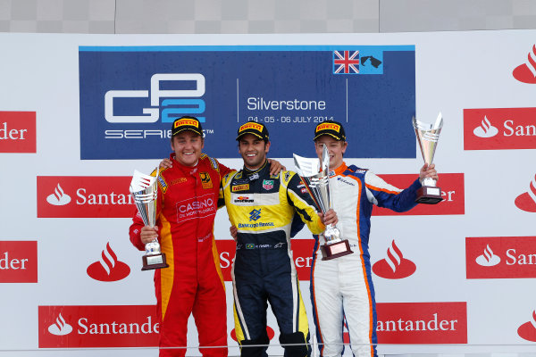 2014 GP2 Series Round 5. Silverstone International Circuit, Silverstone, Northamptonshire, England Sunday 6 July 2014. Felipe Nasr (BRA, Carlin), Stefano Coletti (MON, Racing Engineering) & Johnny Cecotto (VEN, Trident)  Photo: Sam Bloxham/GP2 Series Media Service. ref: Digital Image _SBL8474