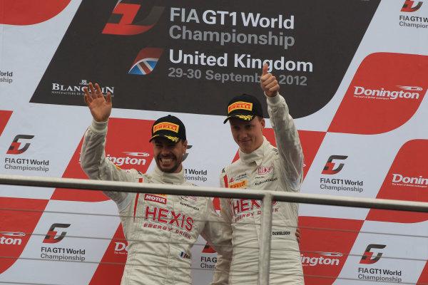 Donington Park, England. 27th-30th September 2012, GT1 Podium, Frederic Makowiecki / Stef Dusseldorp, McLaren World Copyright. Ebrey/LAT Photographic
