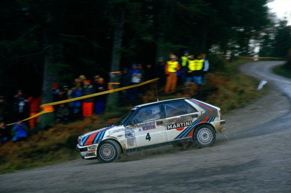 Lombard RAC Rally, Great Britain. 22nd - 25th November 1987.Juha Kankkunen/Juha Piironen (Lancia Delta HF 4WD), 1st position, action. World Copyright: LAT Photographic.Ref: 35mm transparency 87RALLY10.