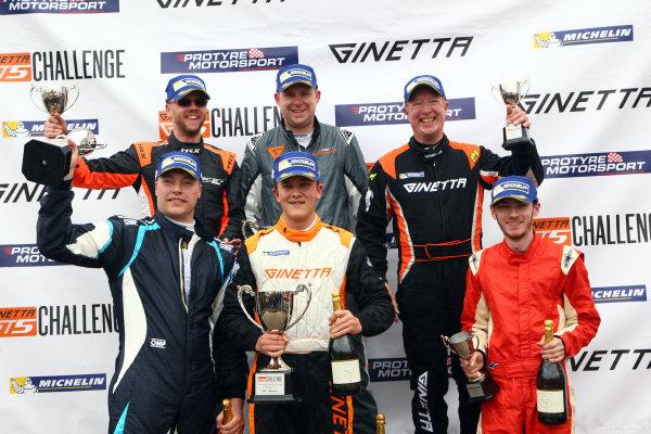 2017 Ginetta GT5 Championship Oulton Park, 15th-17th April, 2017, Race 1 Podium World copyright. JEP/LAT Images
