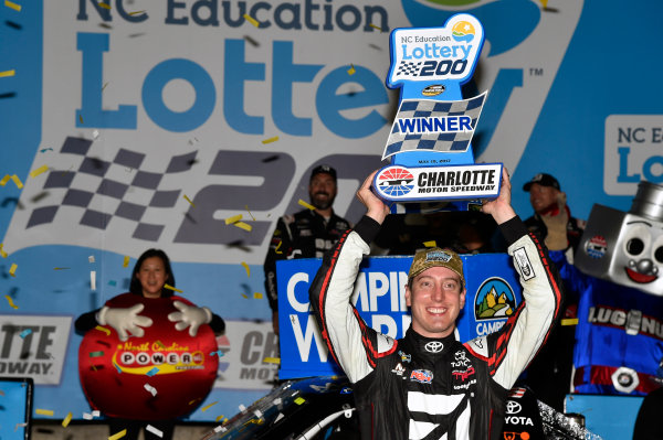 NASCAR Camping World Truck Series North Carolina Education Lottery 200 Charlotte Motor Speedway, Concord, NC USA Friday 19 May 2017 Kyle Busch, Cessna Toyota Tundra celebrates his win in Victory Lane World Copyright: Nigel Kinrade LAT Images ref: Digital Image 17CLT1nk04895