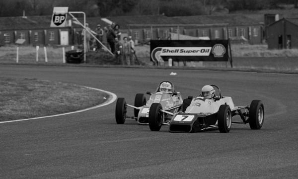 Third place finisher Ayrton Senna (BRA) Van Diemen R81 Ford battles with his team mate Enrique Mansilla (ARG). British Formula Ford 1600 Championship, Thruxton, 8 March 1981.