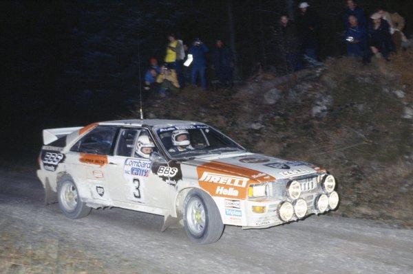 1983 World Rally Championship.Lombard RAC Rally, Great Britain. 19-23 November 1983.Stig Blomqvist/Bjorn Cederberg (Audi Quattro A2), 1st position.World Copyright: LAT PhotographicRef: 35mm transparency 83RALLY15