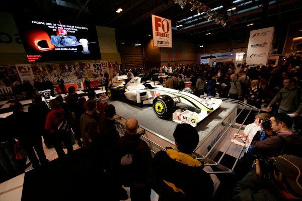 NEC, Birmingham. 16th January 2010.Jenson Button's Brawn GP BGP001 at the F1 Racing stand.World Copyright: Drew Gibson/LAT Photographicref: Digital Image _Y8P5256