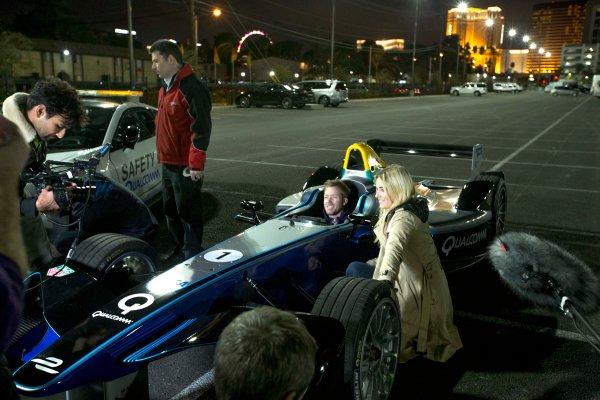 2016/2017 FIA Formula E Championship. Vegas eRace, Las Vegas, Nevada, United States of America. Thursday 5 January 2017. Sam Bird, DS Virgin Racing, is filmed in cockpit. Photo: Zak Mauger/LAT/Formula E ref: Digital Image _X0W5643