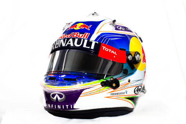 Circuito de Jerez, Jerez, Spain. Tuesday 3 February 2015. Helmet of Daniel Ricciardo, Red Bull Racing.  World Copyright: Red Bull Racing (Copyright Free FOR EDITORIAL USE ONLY) ref: Digital Image 2015_RED_BULL_HELMET_07