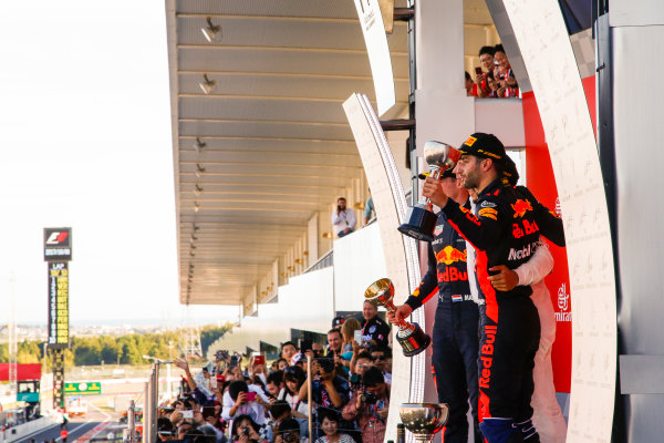 Suzuka Circuit, Japan. Sunday 8 October 2017. Max Verstappen, Red Bull, 2nd Position, James Vowles, Chief Strategist, Mercedes AMG, Lewis Hamilton, Mercedes AMG, 1st Position, and Daniel Ricciardo, Red Bull Racing, 3rd Position, on the podium. World Copyright: Joe Portlock/LAT Images  ref: Digital Image _L5R9933