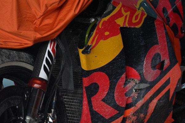 The chrashed bike of Johann Zarco, Red Bull KTM Factory Racing.