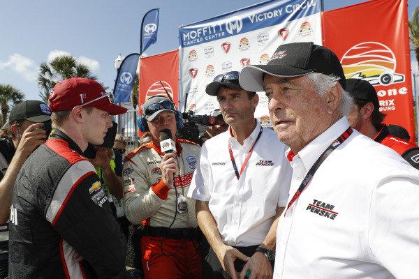 "Josef Newgarden, Team Penske Chevrolet, Tim Cindric, Roger Penske with ""America's Dave Furst"""