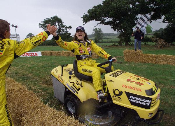 2001 British Grand PrixSilverstone, England. 12th July 2001.Winner of the Honda lawn mower race.World Copyright: Steve Etherington/LAT Photographicref: 16mb Digital Image