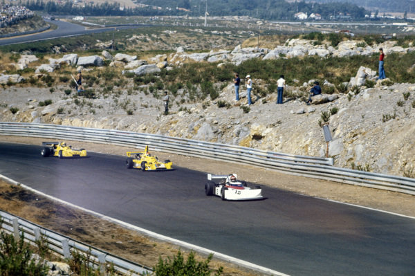 Eddie Cheever, March 752 Hart, leads Michel Leclère, Elf 2J Renault/Gordini, and Alberto Colombo, March 752 BMW.