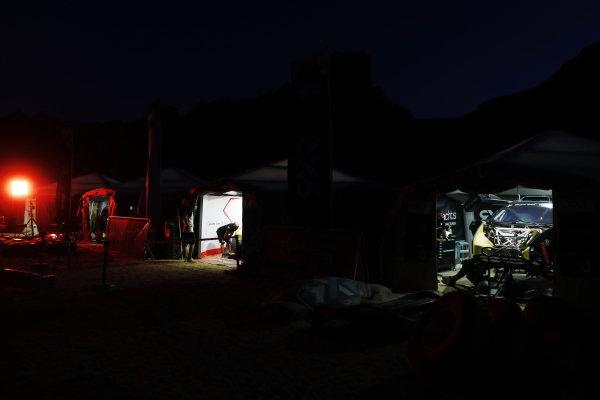 The Acciona | Sainz XE Team and Rosberg X Racing teams work at night