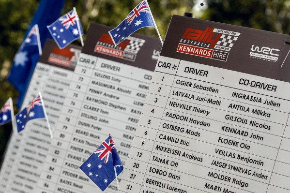 Entry list at FIA World Rally Championship, Rd13, Rally Australia, Day Three, Coffs Harbour, New South Wales, Australia, 20 November 2016.
