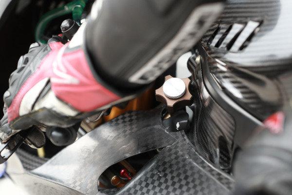 Yamaha Factory Racing suspension height control knob.