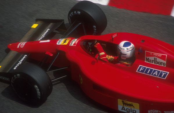1990 Monaco Grand Prix.Monte Carlo, Monaco.25-27 May 1990.Alain Prost (Ferrari 641). He was hit by Berger, causing the first race to be stopped. He exited the second race on lap 30 when his battery exploded.Ref-90 MON 05.World Copyright - LAT Photographic