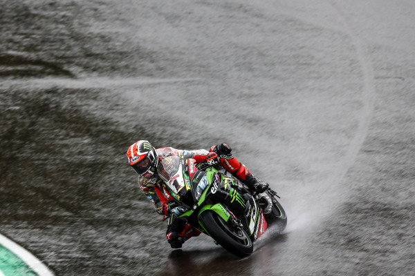 Jonathan Jonathan Rea, Kawasaki Racing Team on wet assessment laps.