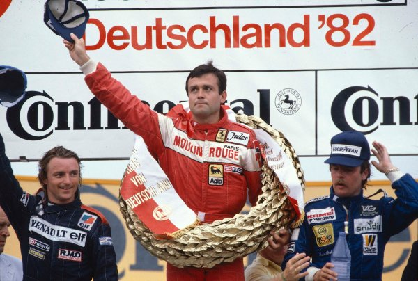 1982 German Grand Prix.Hockenheim, Germany.6-8 August 1982.Patrick Tambay (Ferrari) 1st position, Rene Arnoux (Equipe Renault) 2nd position and Keke Rosberg (Williams Ford) 3rd position on the podium.Ref-82 GER 39.World Copyright - LAT Photographic