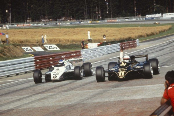 1982 Austrian Grand Prix.Osterreichring, Zeltweg, Austria.13-15 August 1982.Elio de Angelis (Lotus 91 Ford) just beats Keke Rosberg (Williams FW08 Ford) to the victory by a margin of only five hundredths of a second, after 53 laps.Ref-82 AUT 01.World Copyright - LAT Photographic