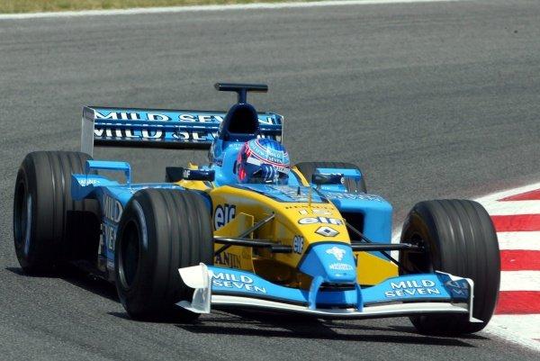 Jenson Button(GBR) Renault R202Formula One Testing, Barcelona, Spain, 25 June 2002.
