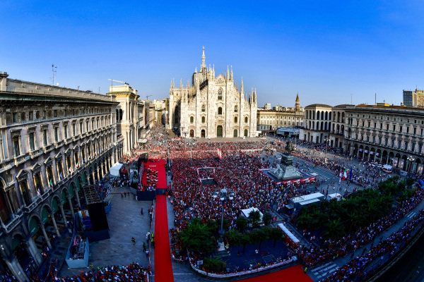 "Piazza Duomo during the ""90 Years of Emotion"" event"