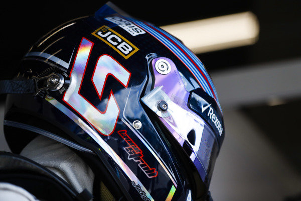 Lance Stroll, Williams Racing, helmet detail.