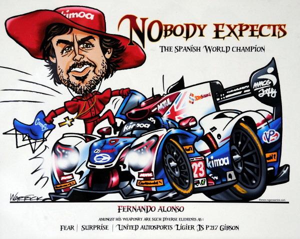 Fernando Alonso (ESP) United Autosports caricature at Daytona 24 Hours Practice and Qualifying, Daytona International Speedway, Daytona, USA, 24-26 January 2018.