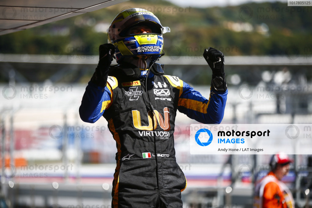 SOCHI AUTODROM, RUSSIAN FEDERATION - SEPTEMBER 29: Luca Ghiotto (ITA, UNI VIRTUOSI), celebrates in parc ferme during the Sochi at Sochi Autodrom on September 29, 2019 in Sochi Autodrom, Russian Federation. (Photo by Andy Hone / LAT Images / FIA F2 Championship)