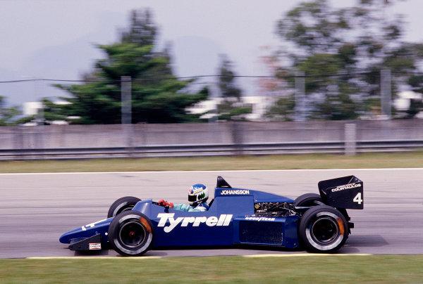 1985 Brazilian Grand Prix.Jacarepagua, Rio de Janeiro, Brazil.5-7 April 1985.Stefan Johansson (Tyrrell 012 Ford) 7th position.Ref-85 BRA 43.World Copyright - LAT Photographic