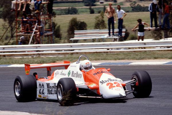 1982 South African Grand Prix.Kyalami, South Africa.13-15 October 1982.Andrea de Cesaris (Alfa Romeo 179D) 13th position.Ref-82 SA 33.World Copyright - LAT Photographic