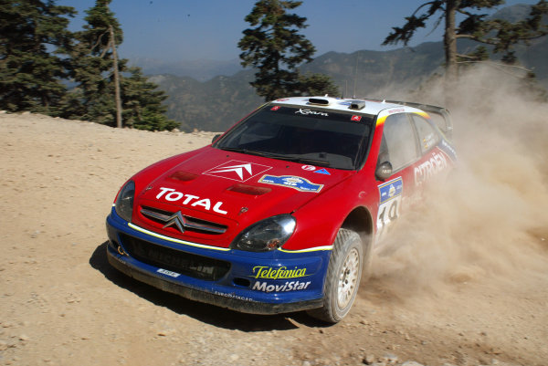 Carlos Saint in action in the Citroen Xsara WRC, Acropolis Rally 2003.