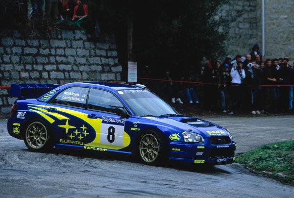2003 World Rally ChampionshipTour De Corsica. 15th - 19th October 2003.Tommi Makinen/Kaj Lindstrom (Subaru Impreza WRC2003),action.World Copyright: McKlien/ LAT Photographicref: 35mm Corsica 13