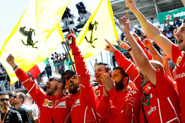 Interlagos, Sao Paulo, Brazil. Sunday 12 November 2017. Ferrari team members celebrate at the podium. World Copyright: Steven Tee/LAT Images  ref: Digital Image _O3I0873