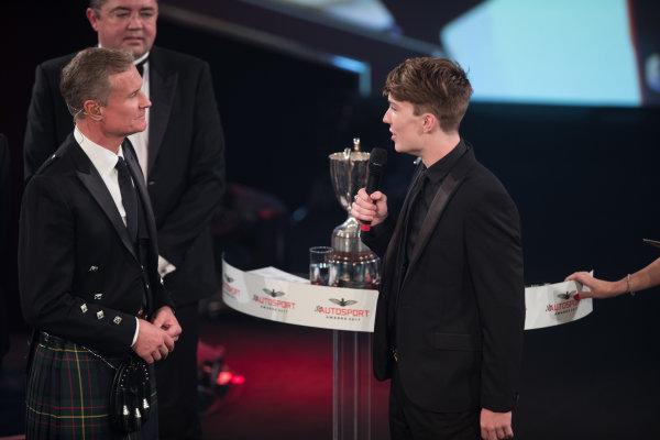 2017 Autosport Awards Grosvenor House Hotel, Park Lane, London. Sunday 3 December 2017. McLaren Autosport BRC Award winner Dan Ticktum on stage with Presenter David Coulthard. World Copyright: Joe Portlock/LAT Images  ref: Digital Image _R3I6207