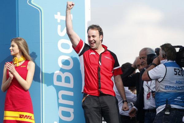 2014/2015 FIA Formula E Championship. Berlin ePrix, Berlin Tempelhof Airport, Germany. Saturday 23 May 2015 ABT team member celebrates on the podium. Photo: Andrew Ferraro/LAT/Formula E ref: Digital Image _FER1941