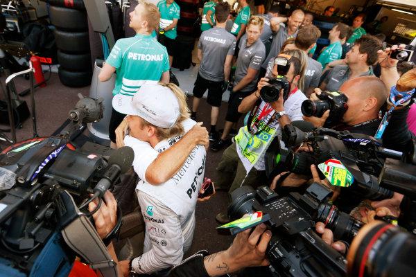 Monte Carlo, Monaco 26th May 2013 Nico Rosberg celebrates his win.  World Copyright: Charles Coates/LAT Photographic ref: Digital Image _N7T1336