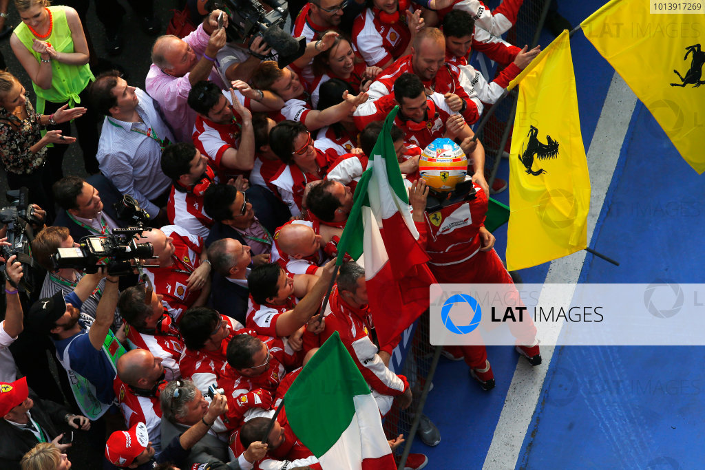 Shanghai International Circuit, Shanghai, China Sunday 14th April 2013 Fernando Alonso, Ferrari, 1st position, celebrates in Parc Ferme. World Copyright: Steven Tee/LAT Photographic ref: Digital Image _L0U0273