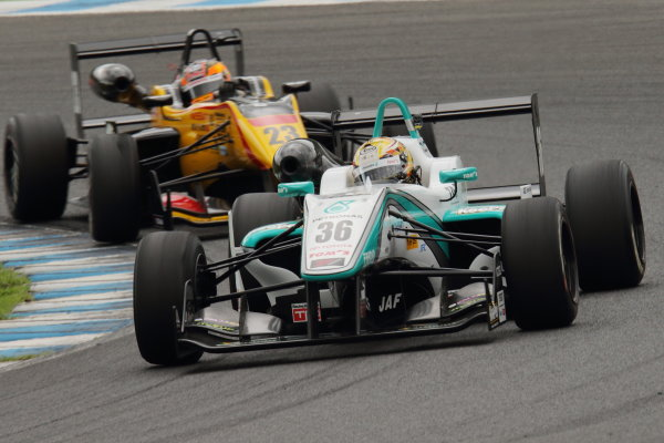 2015 Japanese Formula 3 Championship. Motegi, Japan. 22nd - 23rd August 2015. Rd 14 & 15.. 2nd position Kenta Yamashita ( #36 PETRONAS TOM'S F312 ) action.  World Copyright: Yasushi IshiharaLAT Photographic. Ref: 2015JF3_Rd14&15_007