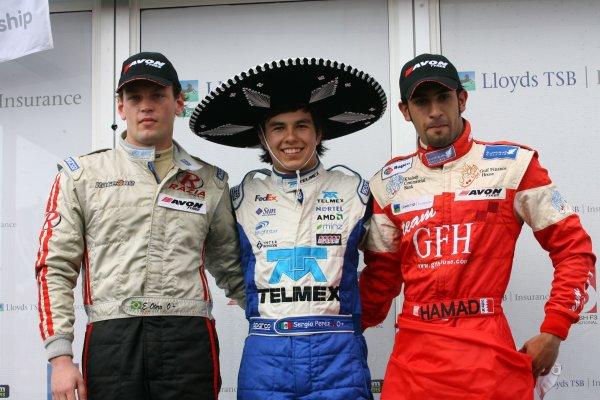 2007 British Formula Three Championship.Silverstone, England. 11th and 12th August 2007.Podium, Ernesto Otero, Sergio Perez and Hamad Al farden.World Copyright: Jakob Ebrey/LAT Photographic.