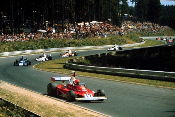 1975 German Grand Prix.  Nurburgring, Germany. 1-3rd August 1975. Niki Lauda (Ferrari 312T), 3rd position, action.  World Copyright: LAT Photographic