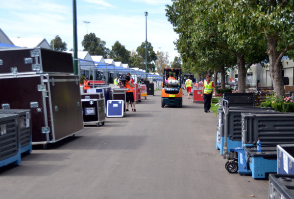 Freight is unloaded in the Paddock.Formula One World Championship, Rd1, Australian Grand Prix, Preparations, Albert Park, Melbourne, Australia, Monday 11 March 2013.