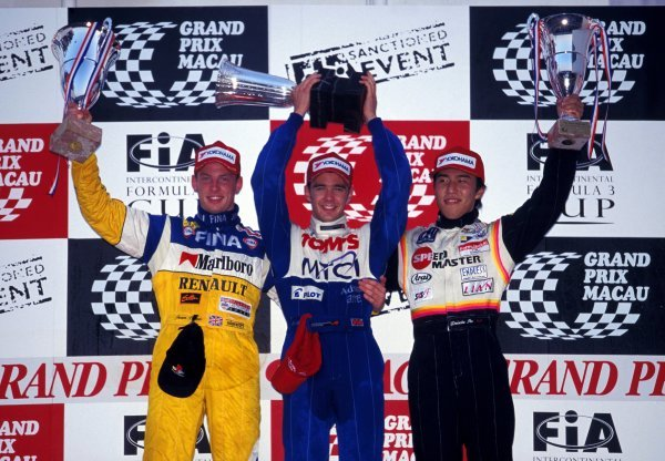 (L-R): Jenson Button (GBR) Promatecme 2nd, race winner Darren Manning (GBR) TOM'S and Daisuke Itoh (JPN) 3rd on the podium.