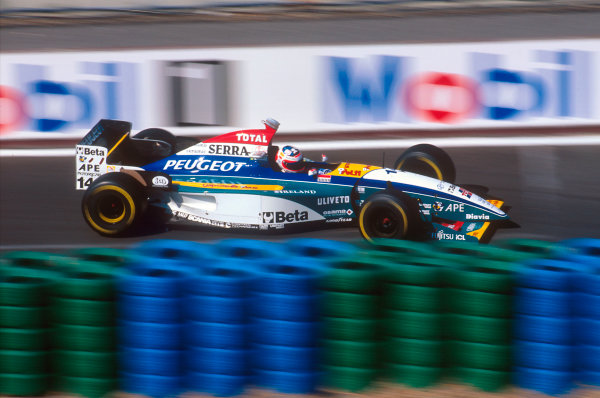 Magny-Cours, France. 30/6-2/7 1995. Rubens Barrichello (Jordan 195 Peugeot) 6th position. Ref-95 FRA 13. World Copyright - LAT Photographic