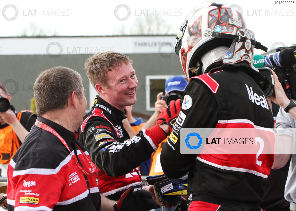 Round 3 - Thruxton, Hampshire.  Thruxton, 4th-5th May 2013.  Gordon Shedden and Matt Neal, Honda, celebrate in parc ferme.  Ref: IMG_9296a. World copyright: Kevin Wood/LAT Photographic