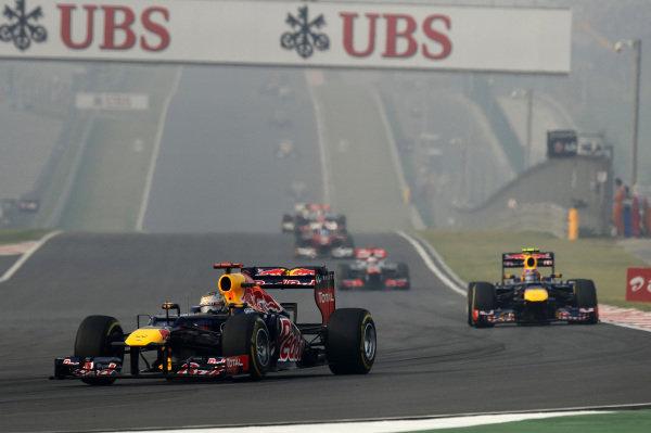 Race winner Sebastian Vettel (GER) Red Bull Racing RB8. Formula One World Championship, Rd17, Indian Grand Prix, Buddh International Circuit, Greater Noida, New Delhi, India, Race, Sunday 28 October 2012.   BEST IMAGE