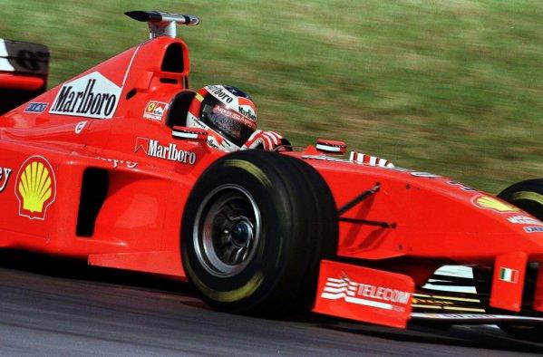 1998 Brazilian Grand Prix.Interlagos, Sao Paulo, Brazil.27-29 March 1998.Michael Schumacher (Ferrari F300) 3rd position.World Copyright - LAT Photographic
