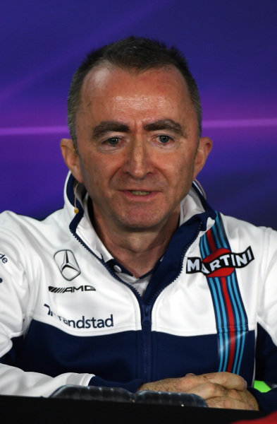 Paddy Lowe (GBR) Williams Shareholder and Technical Director in the Press Conference at Formula One World Championship, Rd1, Australian Grand Prix, Practice, Albert Park, Melbourne, Australia, Friday 24 March 2017.