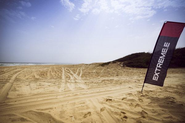 Extreme E signage on the beach
